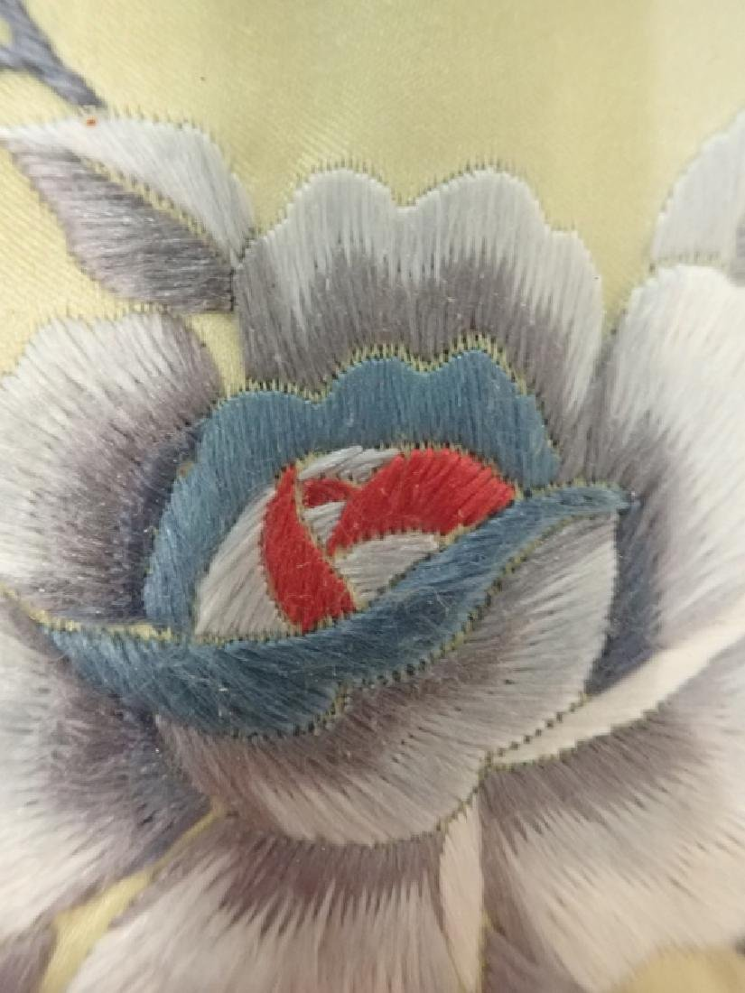 Framed Floral Asian Silk Embroidery Panel - 7