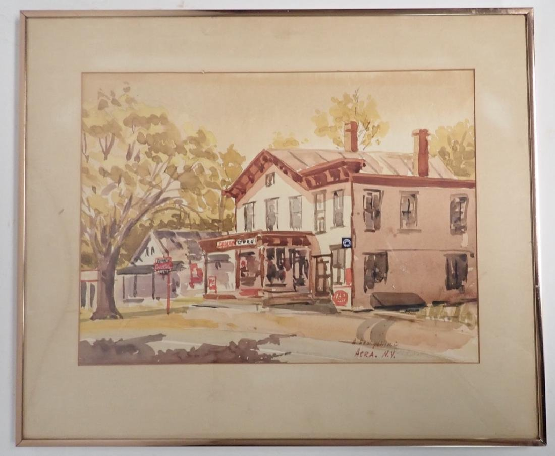 Signed Watercolor Street Scene - 10