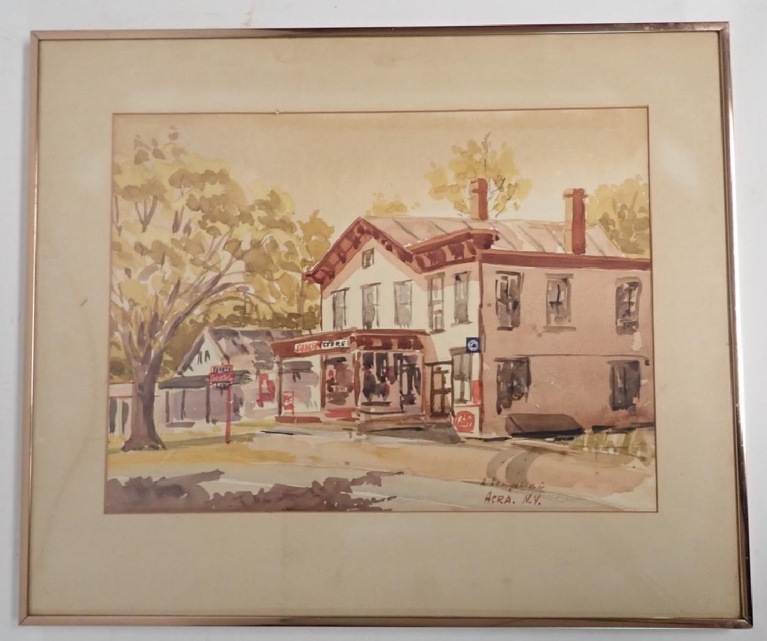 Signed Watercolor Street Scene