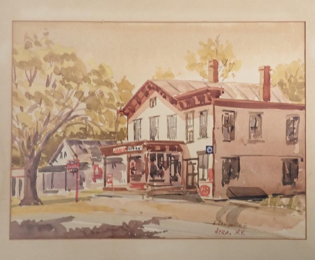 Signed Watercolor Street Scene - 2