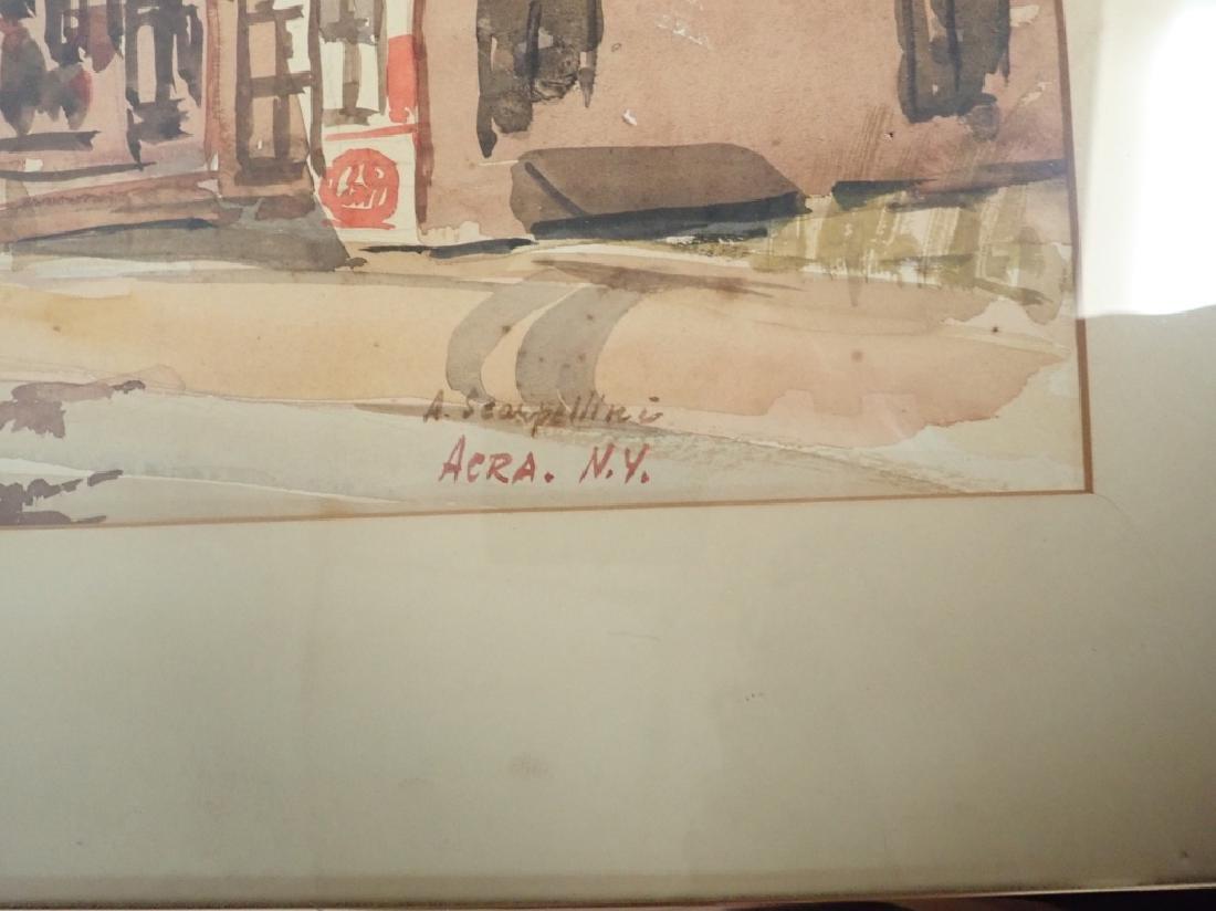 Signed Watercolor Street Scene - 6