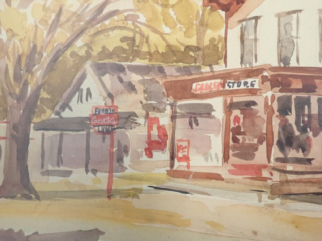Signed Watercolor Street Scene - 8