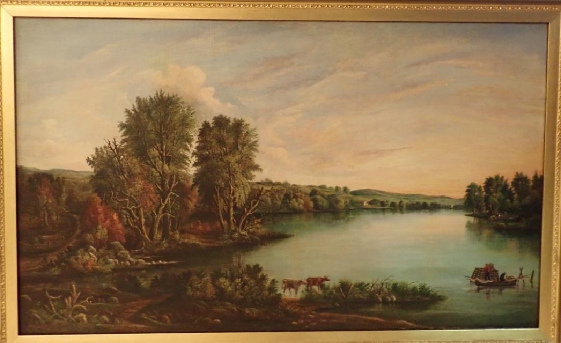 Impressive American Hudson River School Signed Oil - 2