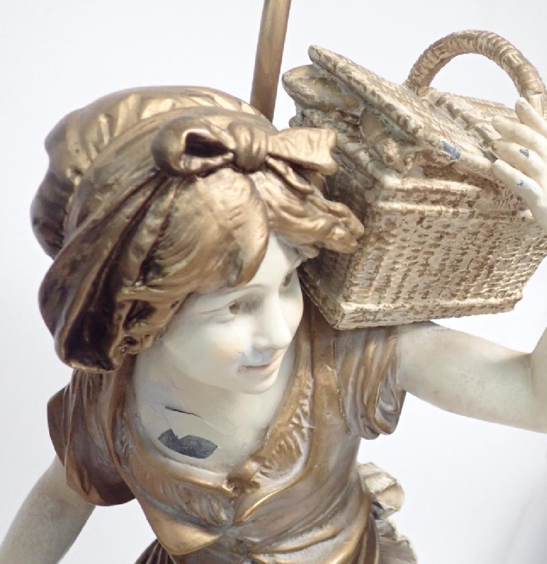 Pair of Figural Cast Metal Lamps Signed Moreau - 10