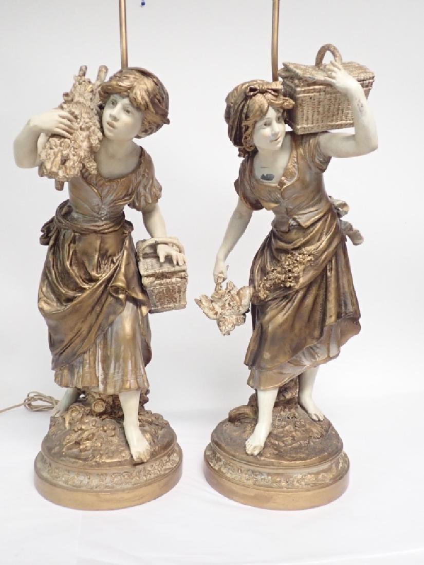 Pair of Figural Cast Metal Lamps Signed Moreau