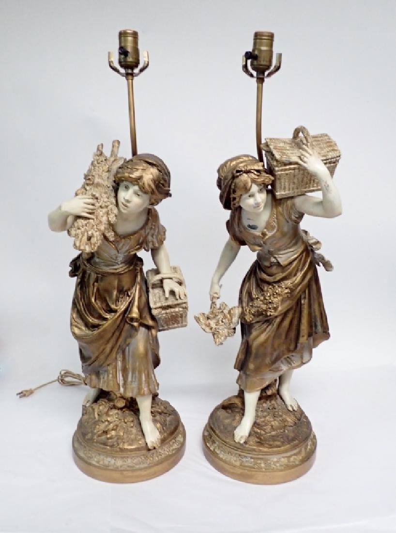 Pair of Figural Cast Metal Lamps Signed Moreau - 2