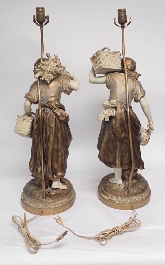 Pair of Figural Cast Metal Lamps Signed Moreau - 4