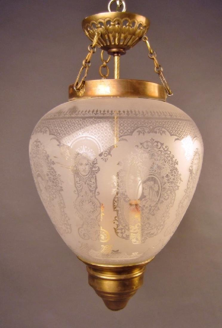 Etched Glass Lantern Form Chandelier
