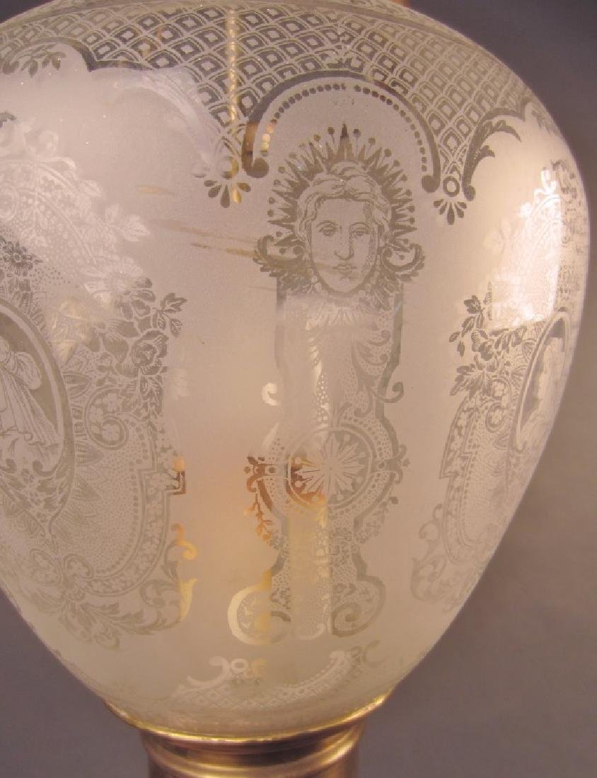 Etched Glass Lantern Form Chandelier - 2