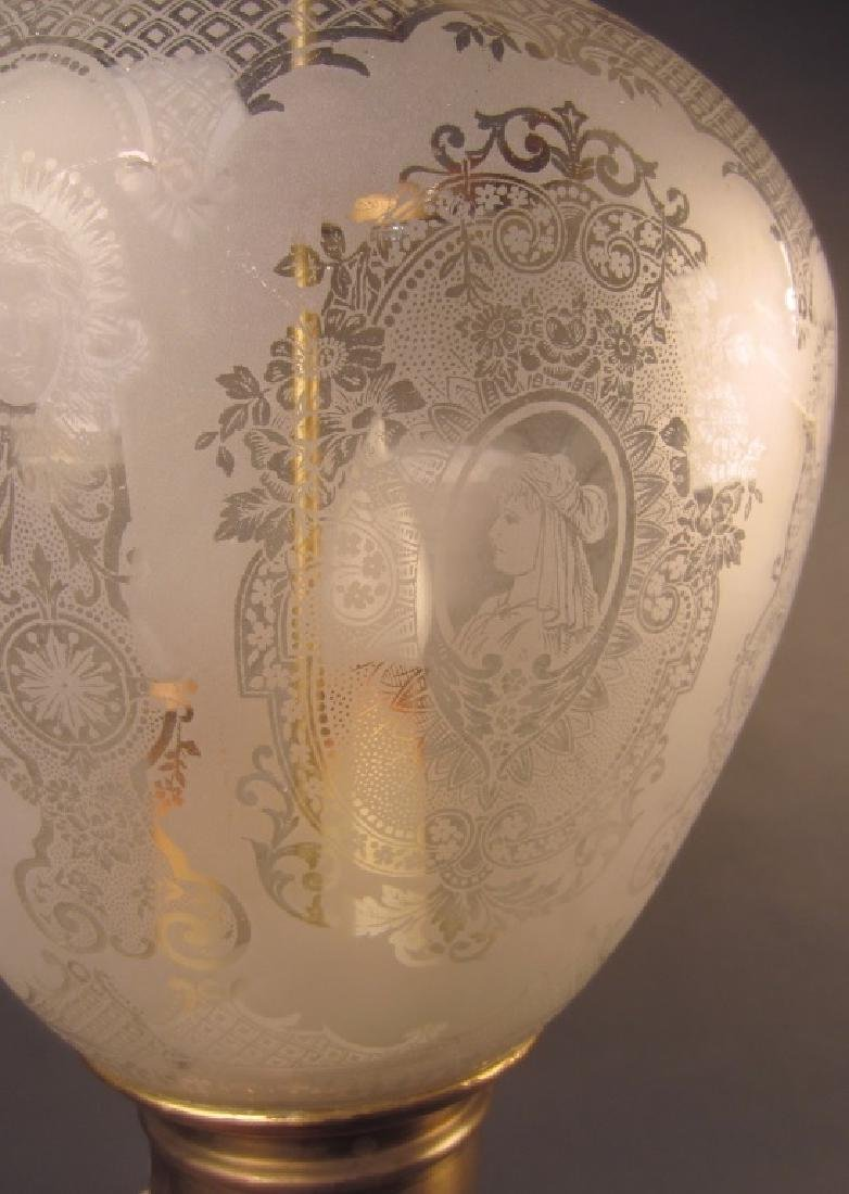 Etched Glass Lantern Form Chandelier - 3