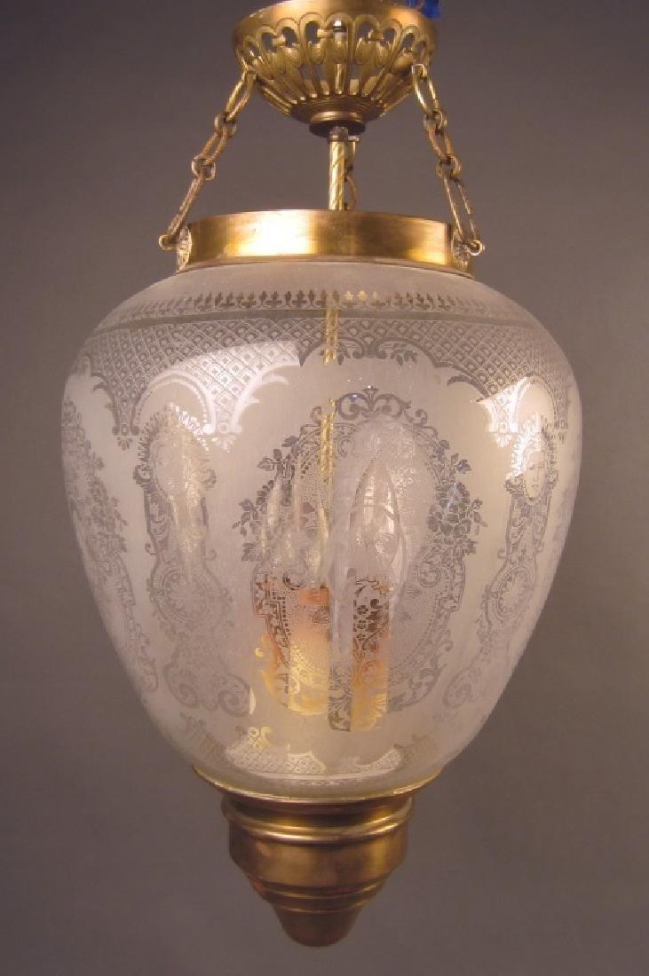 Etched Glass Lantern Form Chandelier