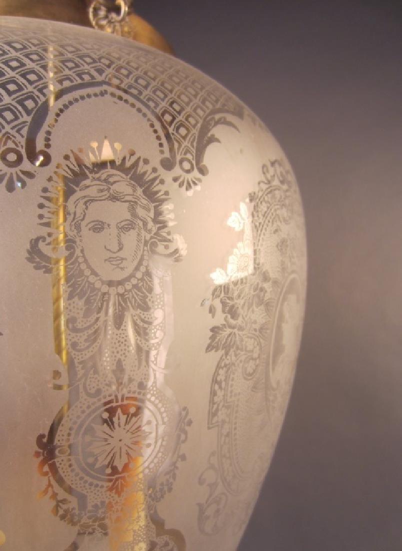 Etched Glass Lantern Form Chandelier - 2