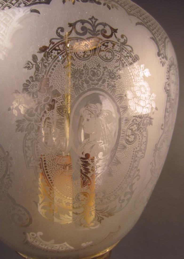 Etched Glass Lantern Form Chandelier - 3