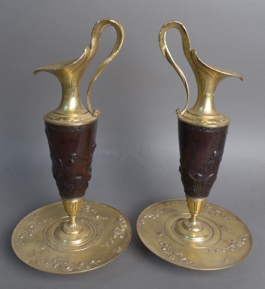 Pair of 19th Century Bronze Ewers