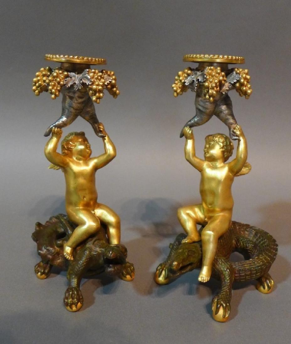 Austrian Patinated Figural Candle Sticks