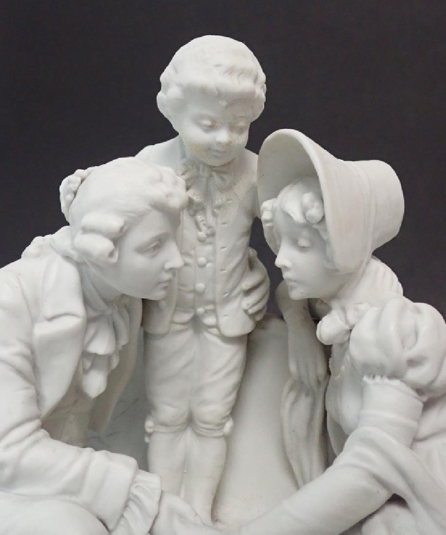 White Bisque Figural Group Family Scene - 10