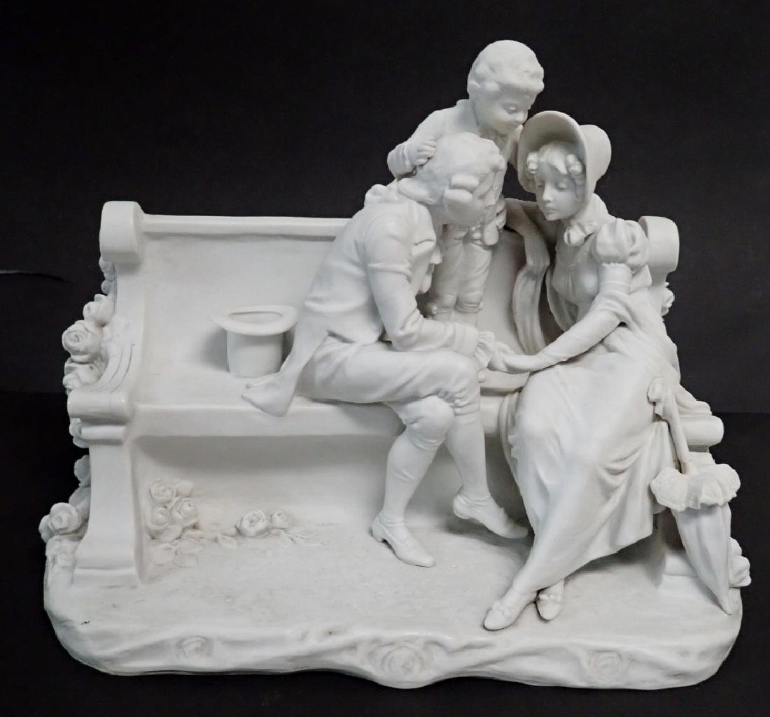 White Bisque Figural Group Family Scene