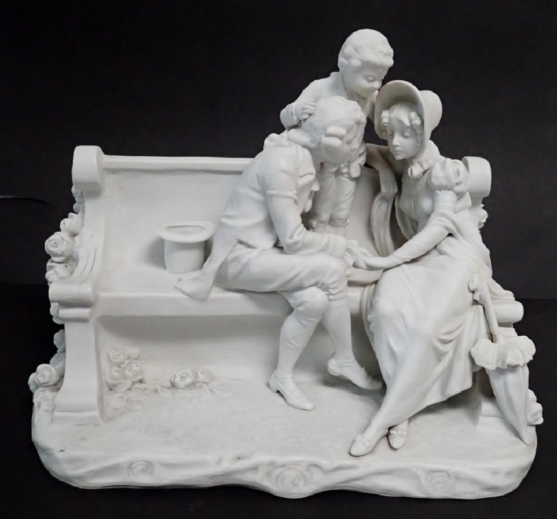 White Bisque Figural Group Family Scene