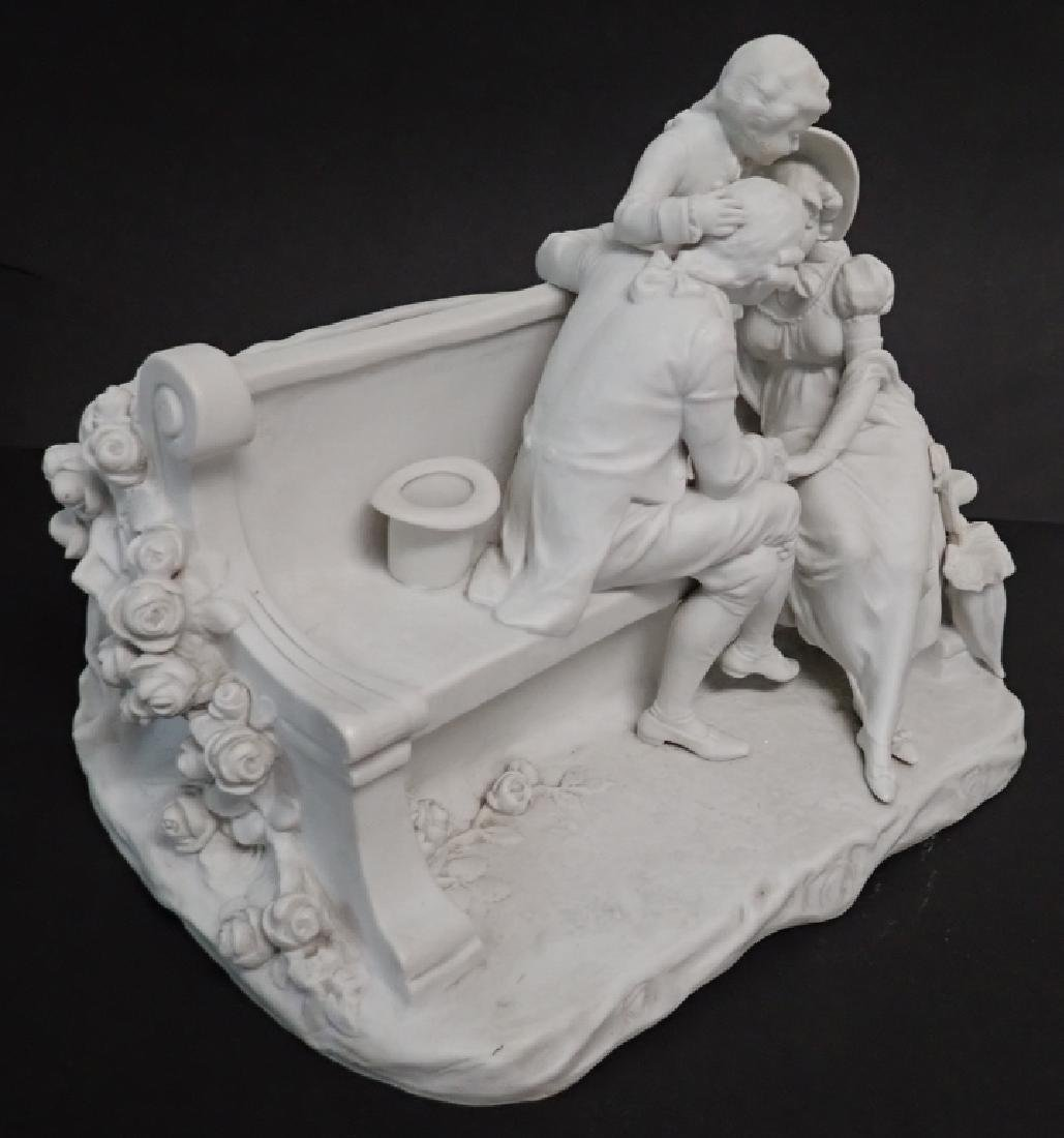White Bisque Figural Group Family Scene - 2