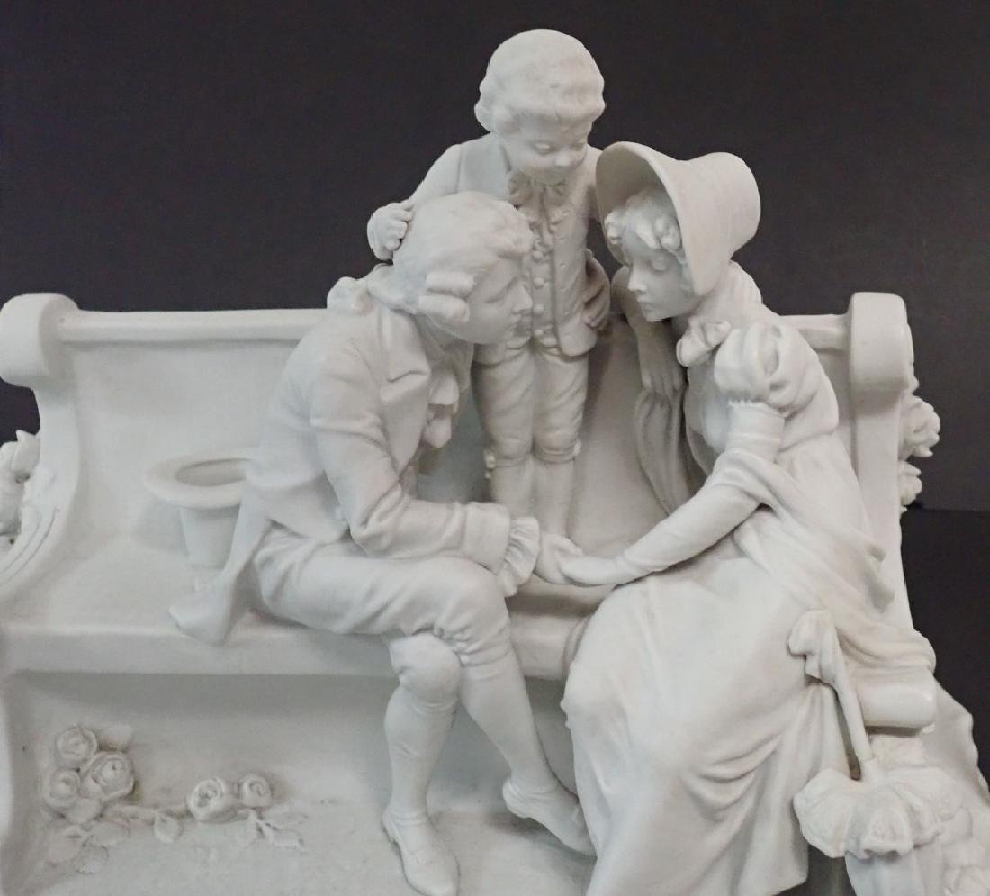 White Bisque Figural Group Family Scene - 7