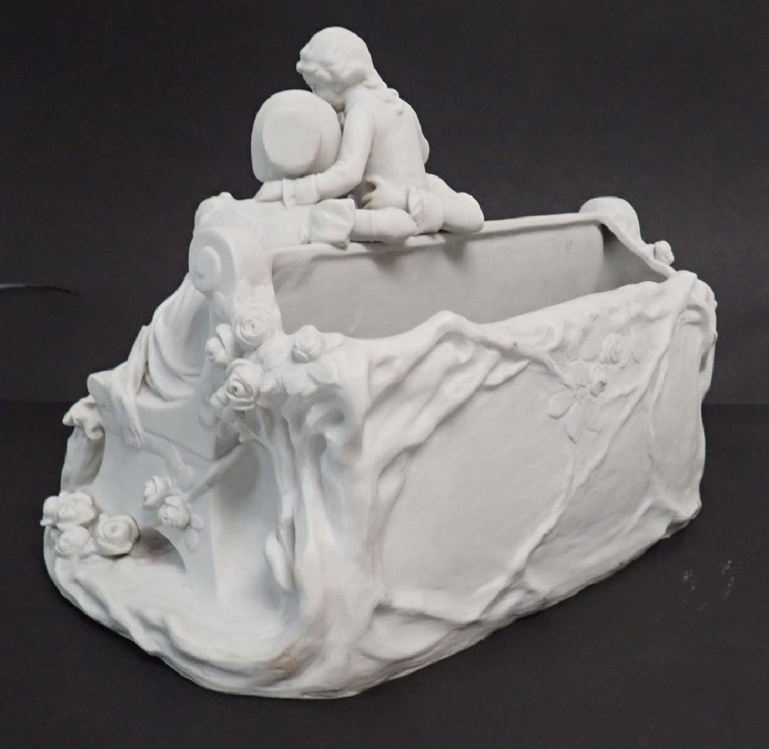 White Bisque Figural Group Family Scene - 9