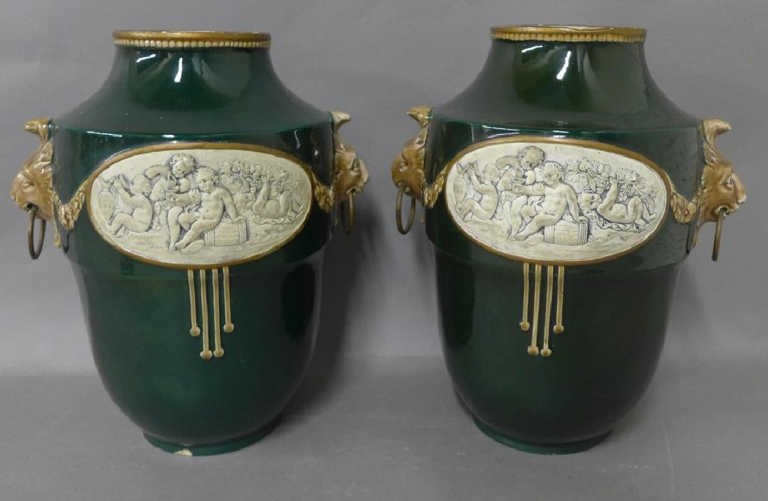 Pair Antique Faience Urns