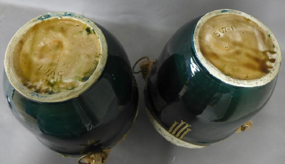 Pair Antique Faience Urns - 2