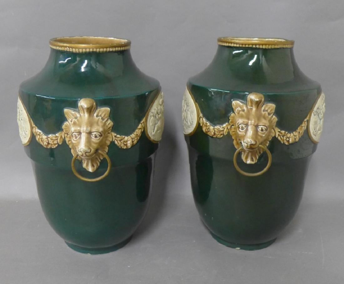 Pair Antique Faience Urns - 8