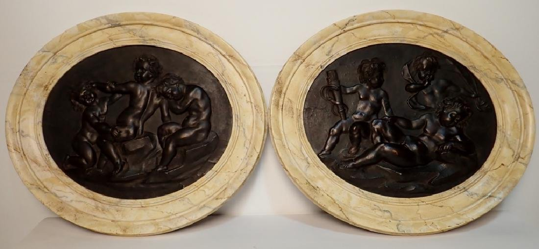 Pair of 19th Century Composition Relief Plaques
