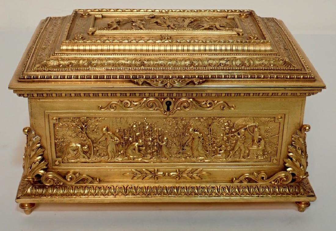 Large 19th Century Dore Bronze Box