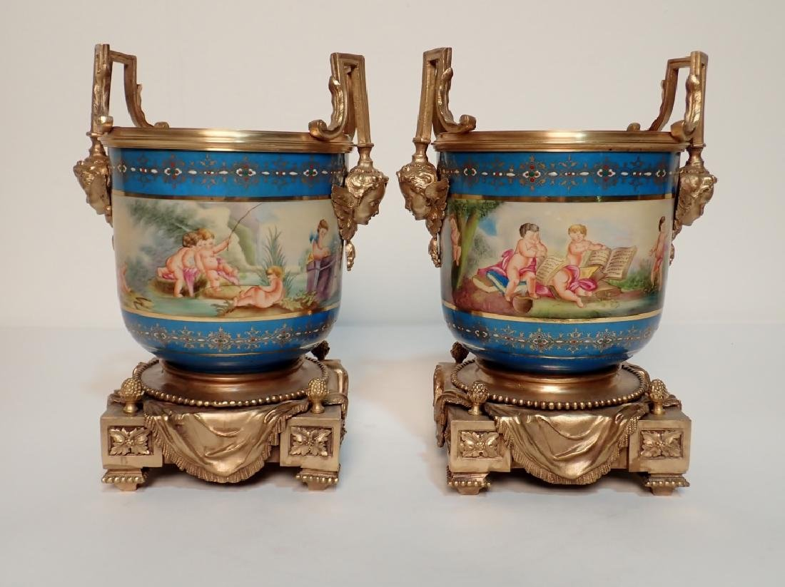 Louis XVI Style Bronze Mounted Porcelain Urns