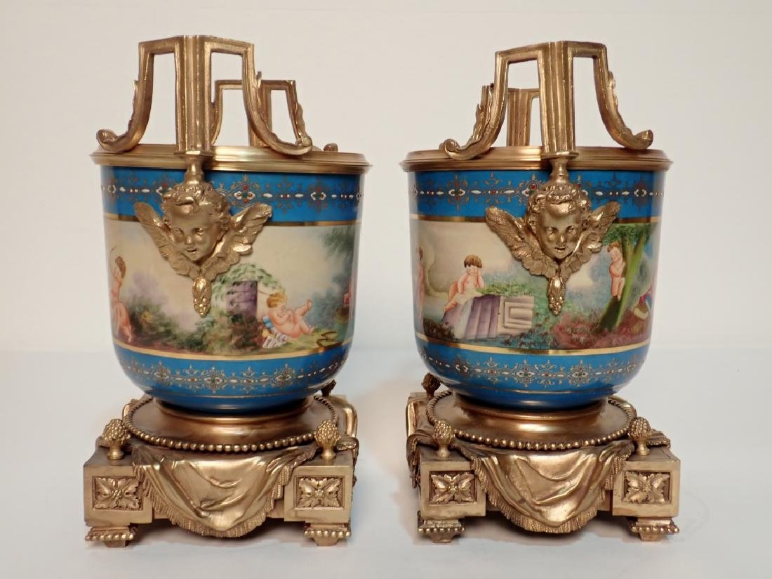 Louis XVI Style Bronze Mounted Porcelain Urns - 2