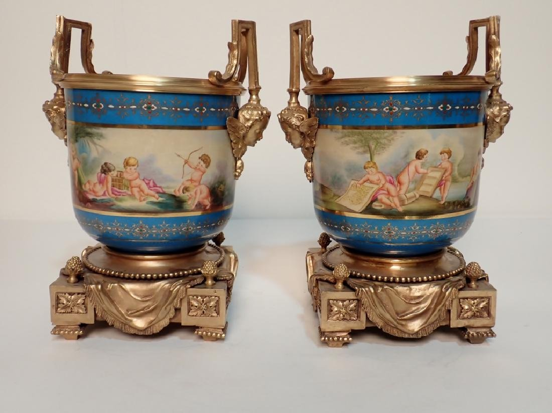Louis XVI Style Bronze Mounted Porcelain Urns - 3