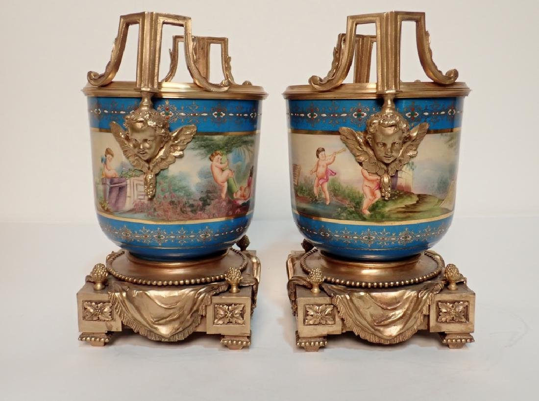 Louis XVI Style Bronze Mounted Porcelain Urns - 4