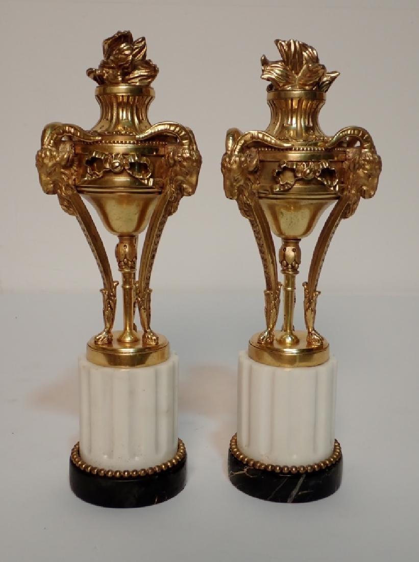 Louis XVI Style Dore Bronze Garnitures on Marble