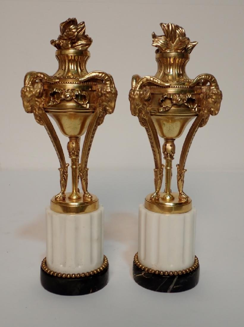 Louis XVI Style Dore Bronze Garnitures on Marble
