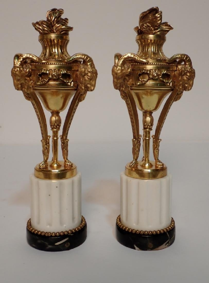 Louis XVI Style Dore Bronze Garnitures on Marble - 2
