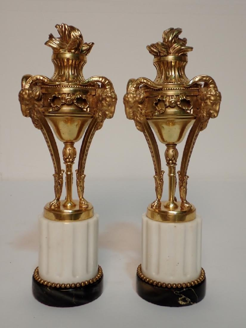 Louis XVI Style Dore Bronze Garnitures on Marble - 3