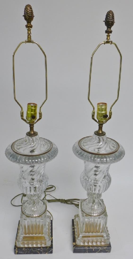 Pair of Baccarat Molded Glass Lamps
