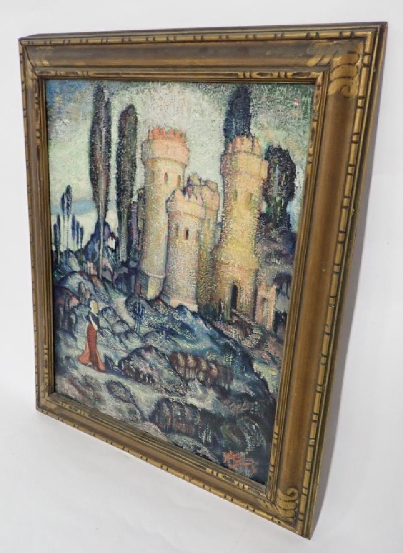 Vintage Oil on Board of Castle - 2