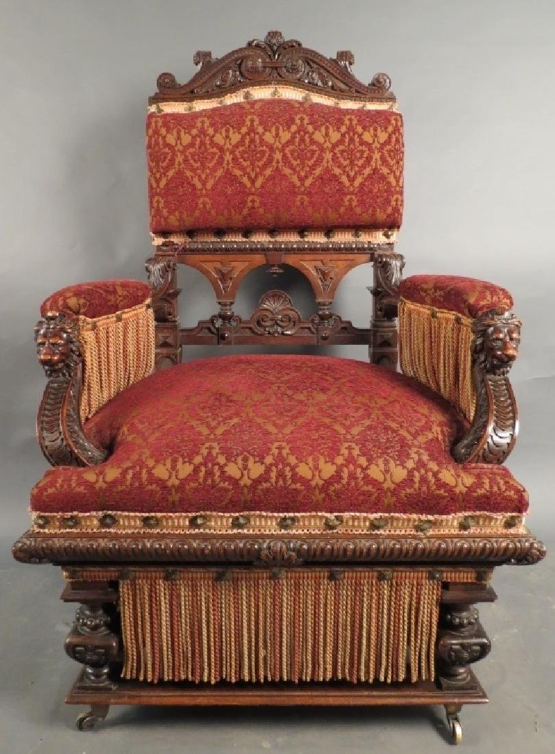 Antique Belle Epoque Carved & Upholstered Armchair