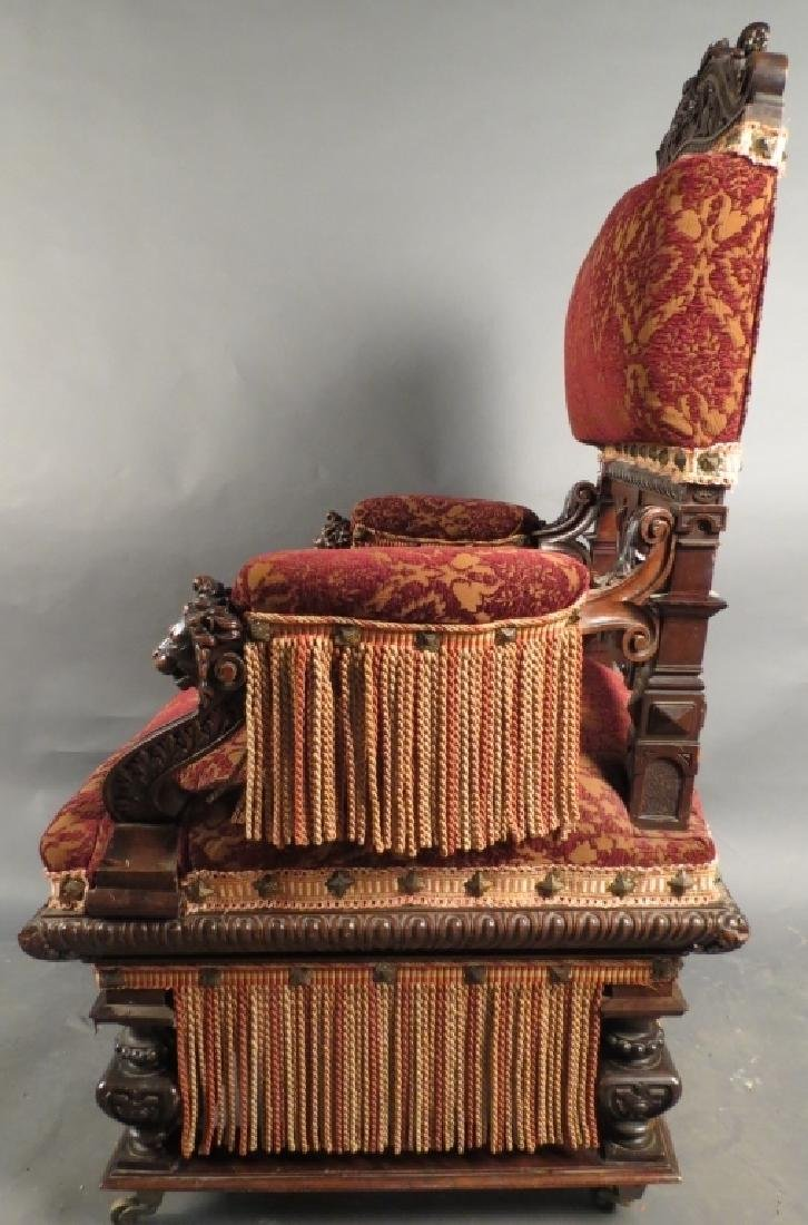Antique Belle Epoque Carved & Upholstered Armchair - 2