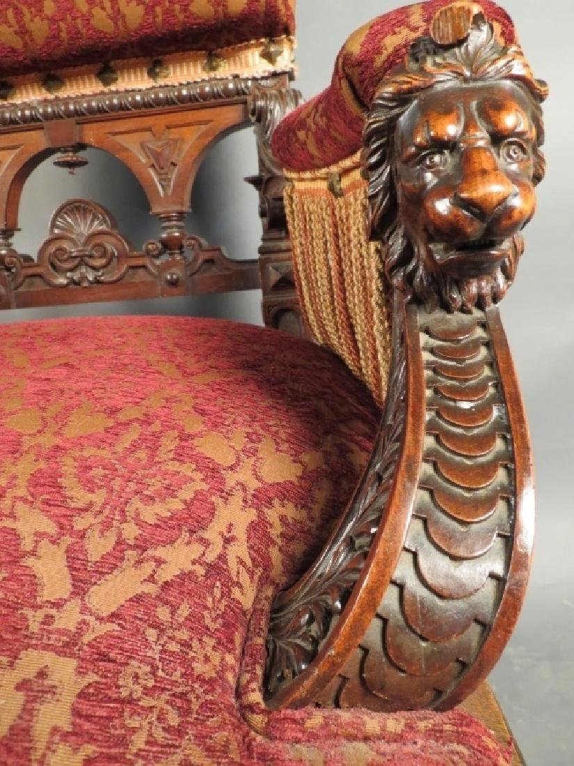 Antique Belle Epoque Carved & Upholstered Armchair - 6