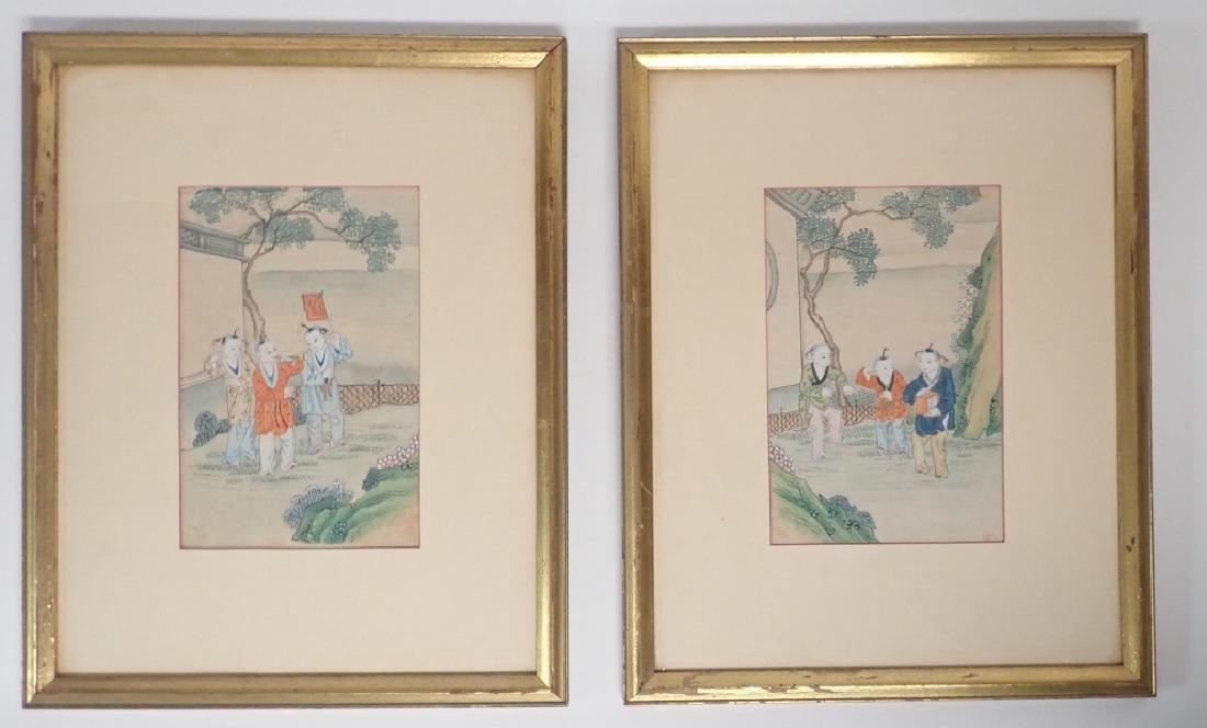 Pair of Vintage Framed Chinese Silk Prints