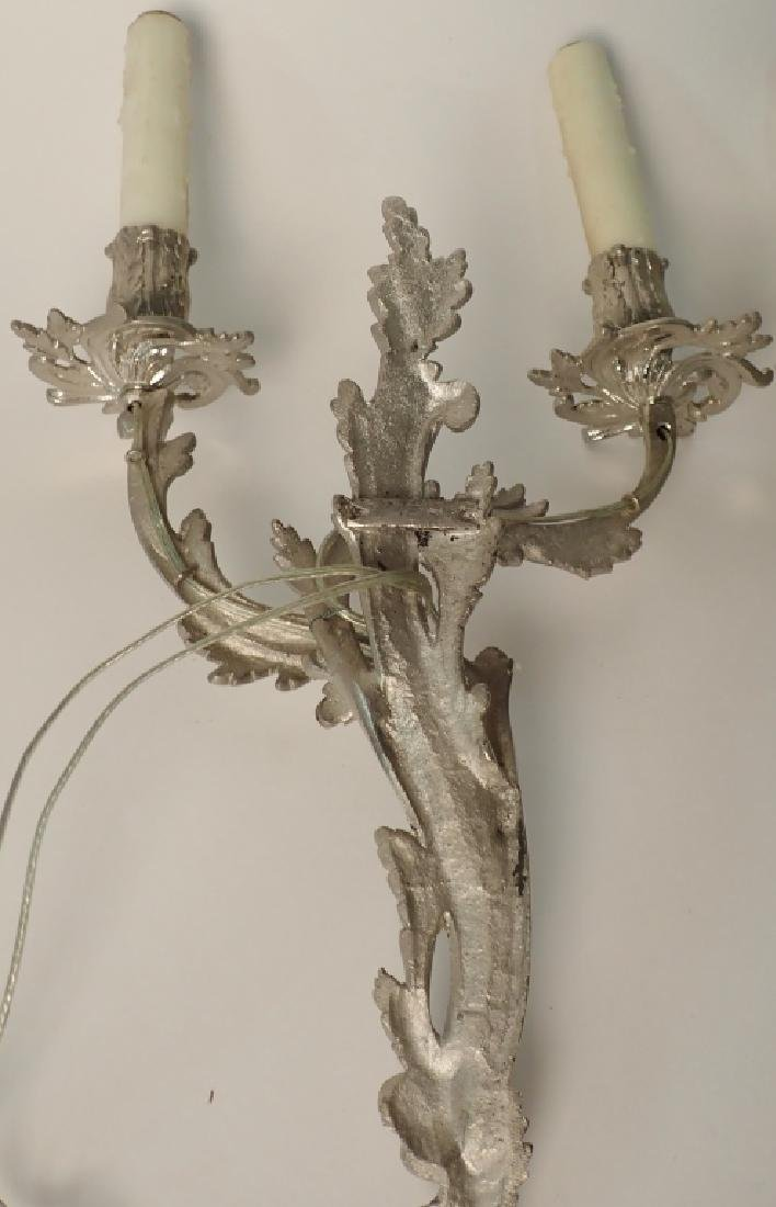 Louis XV Style Sconce Pair Nickel Over Bronze - 2