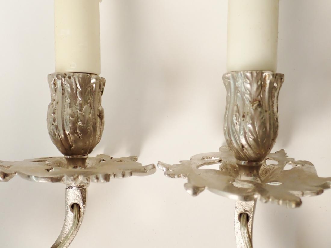 Louis XV Style Sconce Pair Nickel Over Bronze - 4