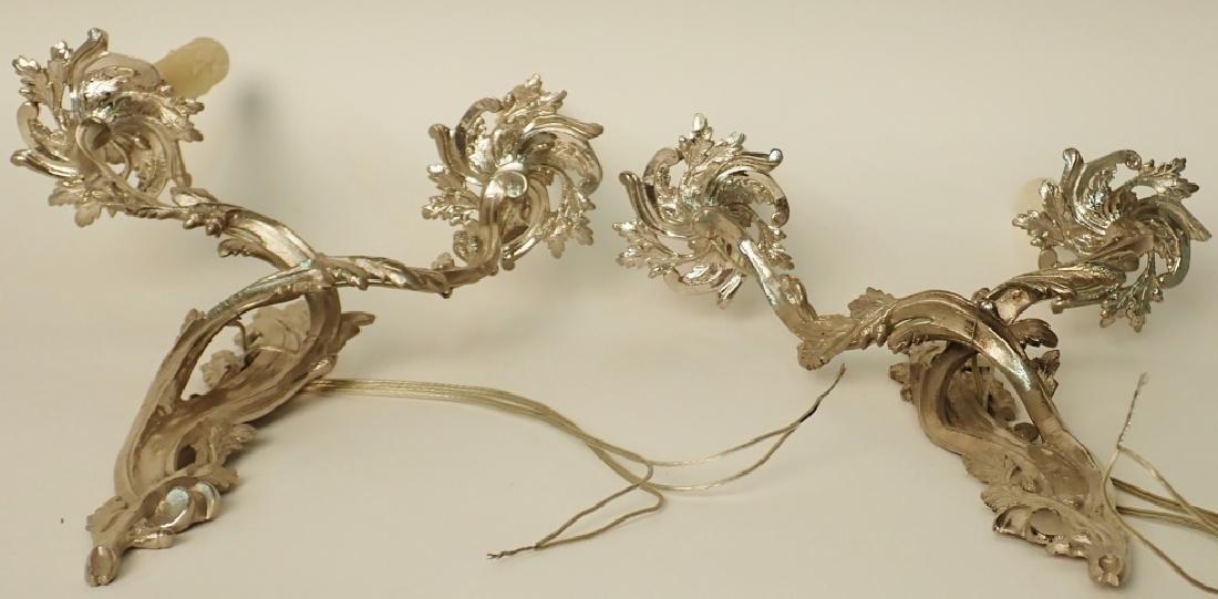 Louis XV Style Sconce Pair Nickel Over Bronze - 6