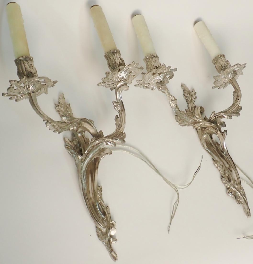 Louis XV Style Sconce Pair Nickel Over Bronze - 7