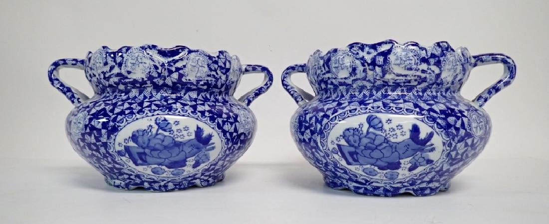 Pair Blue & White Chinese Handled Vessels - 2