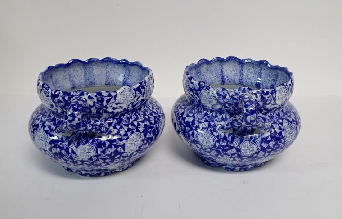Pair Blue & White Chinese Handled Vessels - 4